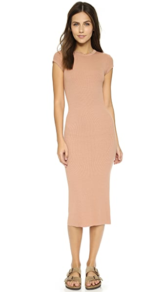 Shop Enza Costa online and buy Enza Costa Ribbed Cap Sleeve Dress Camel dresses online