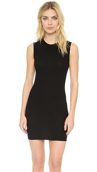 Enza Costa Ribbed Sleeveless Mini Dress - Black