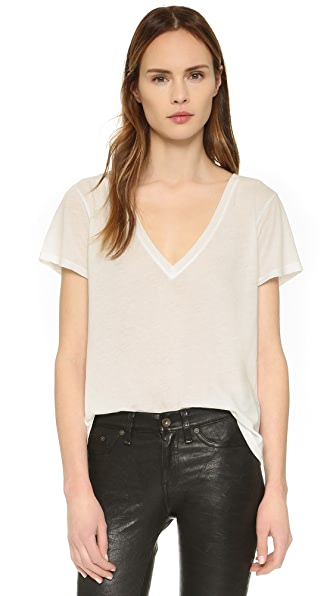 Enza Costa Twist Jersey Boy V Neck Tee