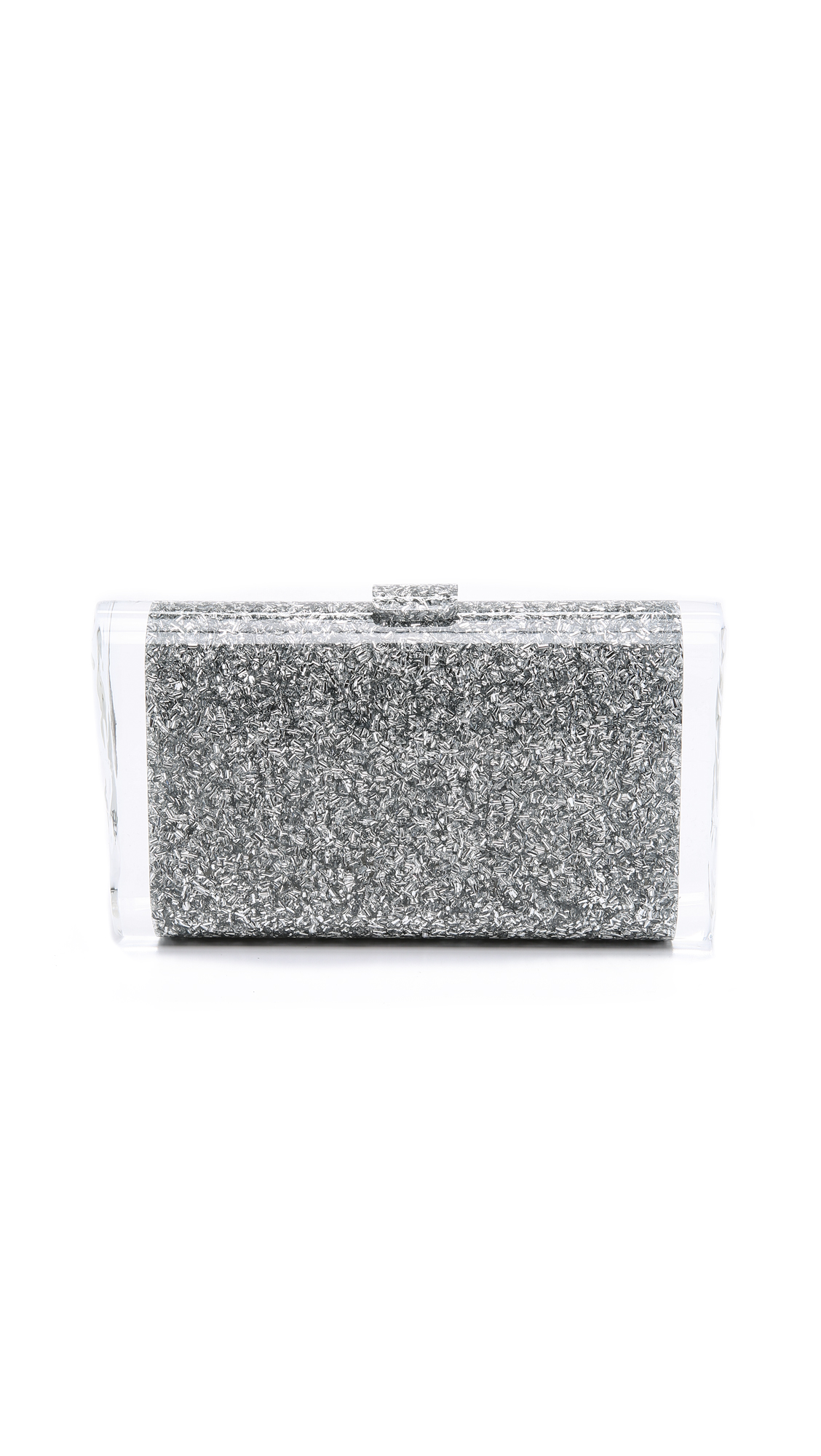 A glittering acrylic Edie Parker clutch with a bold, elegant look. Textured sides. Snap closure at main flap. Unlined interior with mirror panel. Dust bag and microfiber polishing cloth included. Fabric: Acrylic. Weight: 13oz / 0.37kg. Made