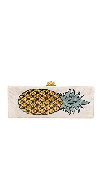 Edie Parker Flavia Pineapple Clutch