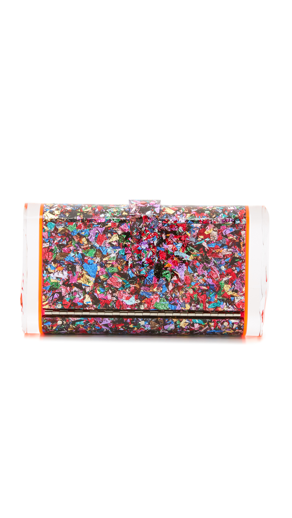 Glitter infused acrylic provides this Edie Parker clutch with a bold, elegant look. Textured sides. Snap closure at main flap. Unlined interior with mirror panel. Dust bag and cleaning cloth included. Fabric: Acrylic. Weight: 21oz / 0.6kg.
