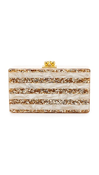 Edie Parker Jean Striped Clutch - Nude Pearlescent/Sand