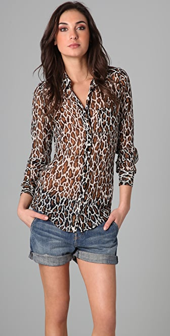 Equipment Sydney Leopard Print Blouse