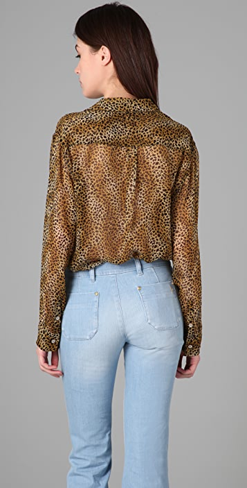 Equipment Signature Leopard Chiffon Blouse