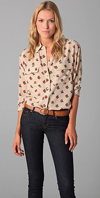 Equipment Retro Floral Cluster Signature Blouse