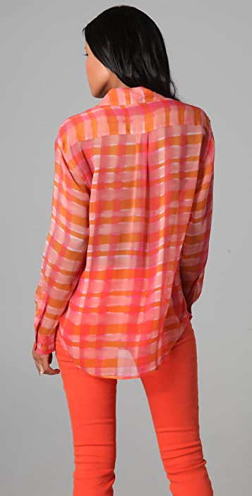 Equipment Signature Watercolor Plaid Blouse