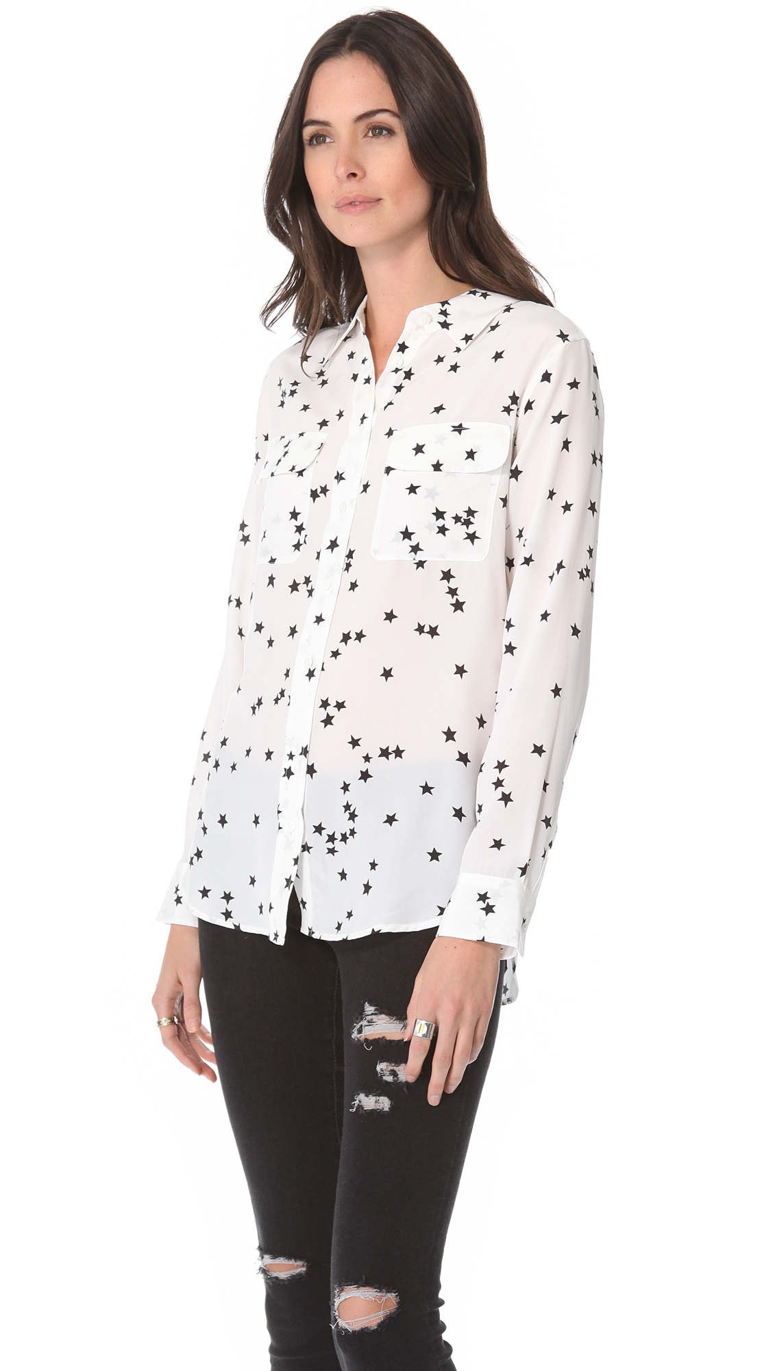 9eefdc3924f56 Equipment Starry Night Slim Signature Blouse