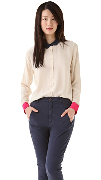 Equipment Sophie Colorblock Blouse