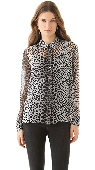 Equipment Brett Raw Cat Print Blouse