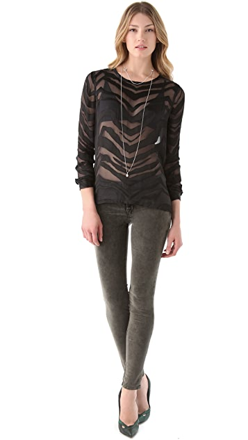 Equipment Liam Zebra Satin Blouse