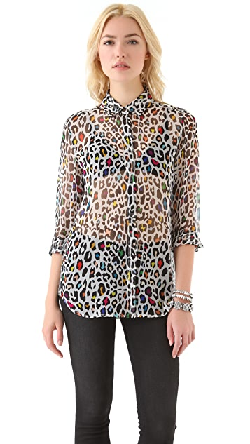 Equipment Earl Confetti Leopard Blouse