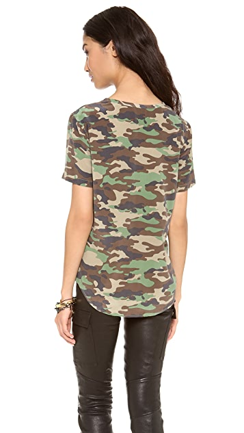 Equipment Riley Camo Silk Tee