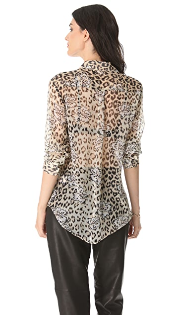 Equipment Signature Leopard Floral Button Down