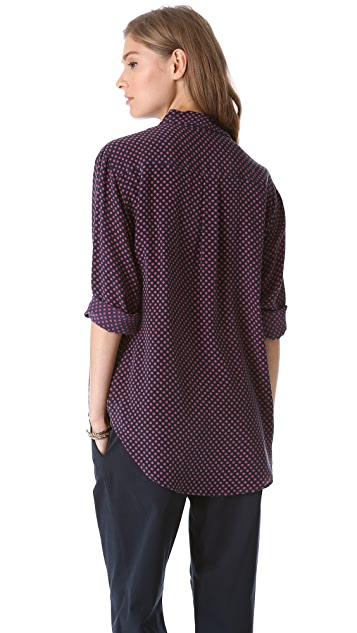 Equipment Signature Dot Print Blouse