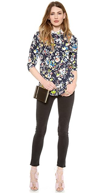 Equipment Slim Signature Blouse with Contrast Collar