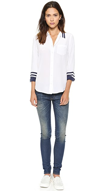 Equipment Brett Contrast Blouse