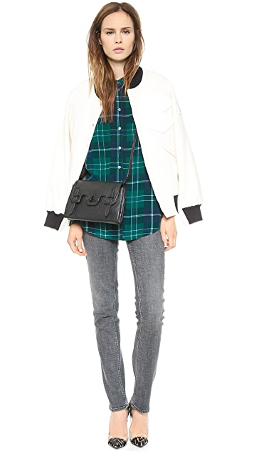 Equipment Signature Blouse with Contrast Sleeves