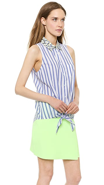 Equipment Mina Tie Front Blouse with Contrast Collar