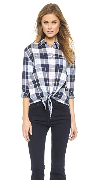 Equipment Daddy Tie Front Button Blouse