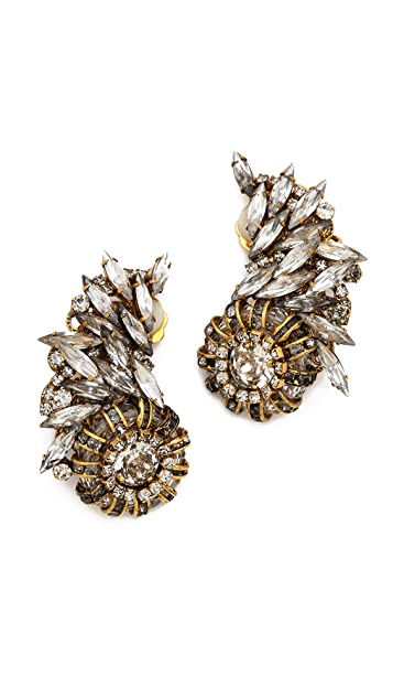 Erickson Beamon Velocity Crystal Clip On Statement Earrings