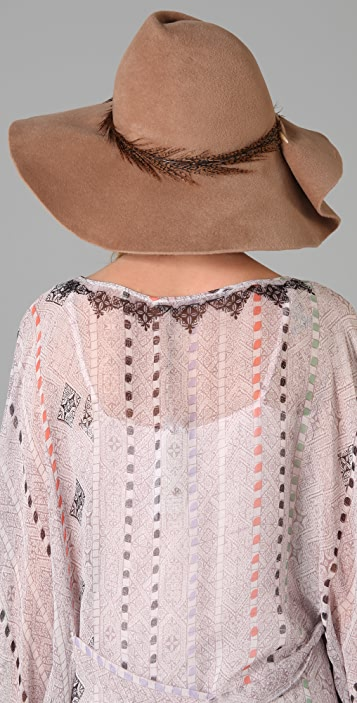 Eugenia Kim Catherine Wide Brim Hat with Pierced Feather