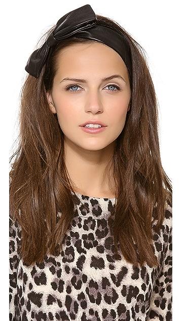 Eugenia Kim Miki Black Leather Bow Headband