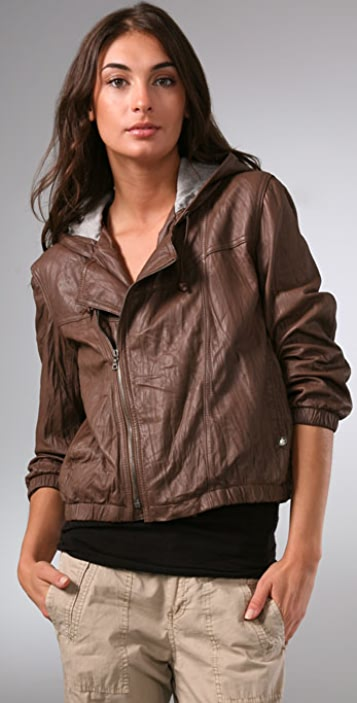 Ever Copa Hooded Leather Bomber Jacket