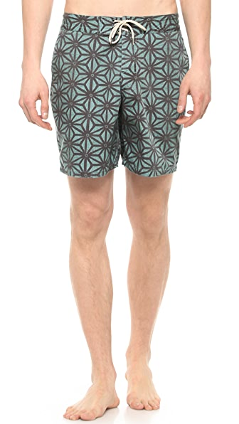 Faherty Starfruit Indigo Board Shorts