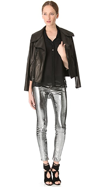 Faith Connexion Metallic Reptile Leather Pants