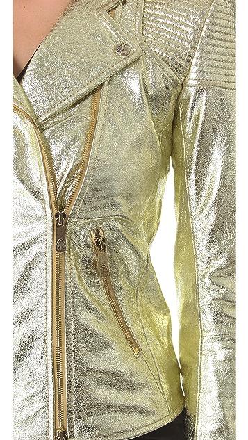 Faith Connexion Metallic Leather Jacket