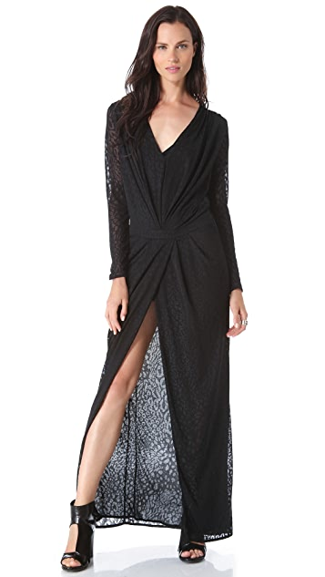 Faith Connexion Leopard Jersey Long Dress