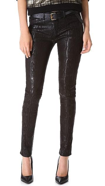 Faith Connexion Python Print Leather Pants