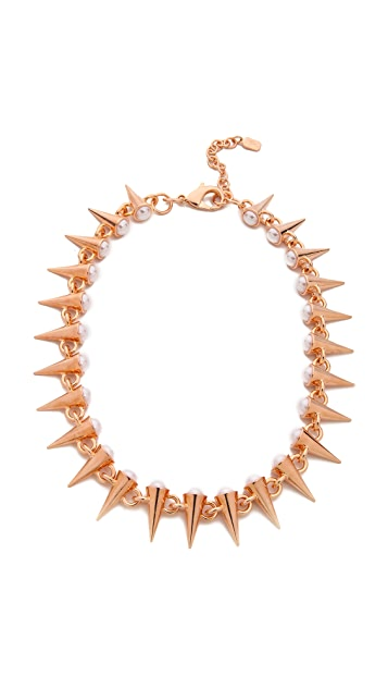 Fallon Jewelry Swarovski Imitation Pearl Tipped Spike Necklace