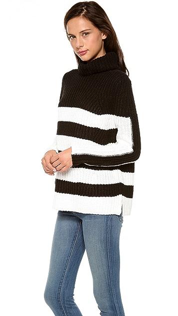 525 America Stripe Turtleneck Tunic Sweater