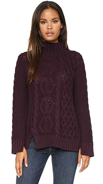 525 America Hand Knit Mock Turtleneck Sweater