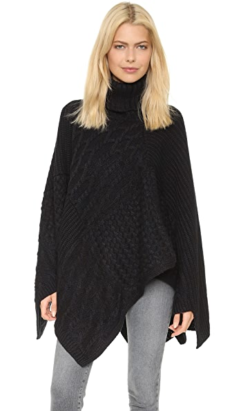 525 America Patchwork Poncho - Black Combo