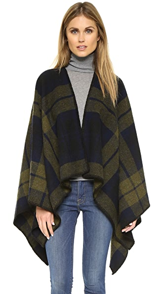 Faribault Woolen Mills Shadow Plaid Blanket Cape