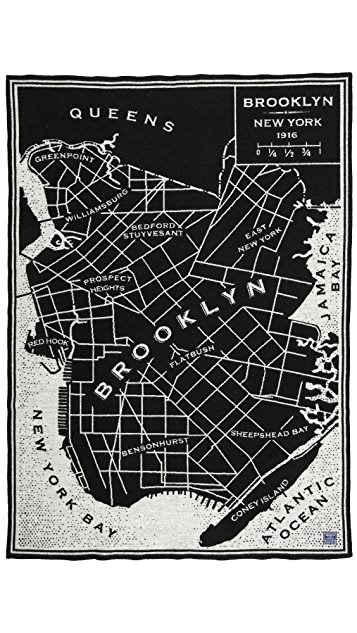 Faribault Woolen Mills Brooklyn City Map Throw