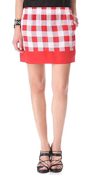 Friends & Associates Gingham Silk Elastic Skirt