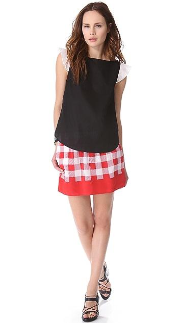 Friends & Associates Gingham Silk Elastic Skirt