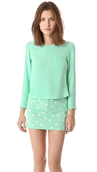 Friends & Associates Cerise Crew Neck Top