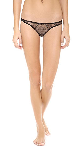 Fleur du Mal Rose Lace Thong In Black