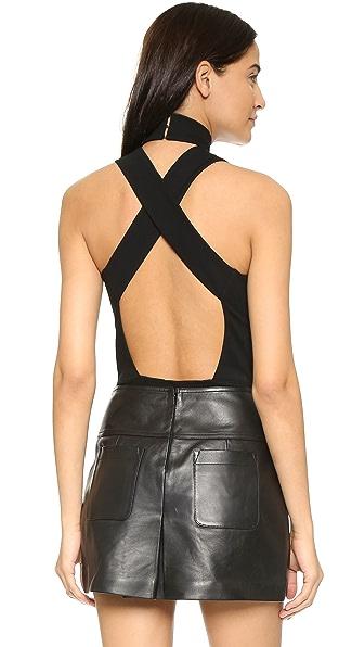 Fleur du Mal Crossback Bodysuit - Black