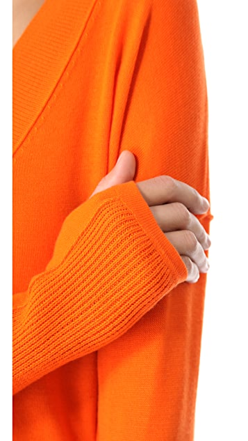Feel The Piece V Neck Sweater with Ribbed Patches