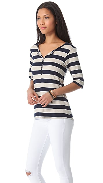 Feel The Piece Bobbi Striped Henley Top