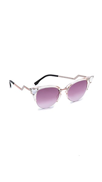 Fendi Iridia Crystal Corner Sunglasses - Light Pink/Pink Gradient at Shopbop