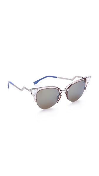 Fendi Iridia Crystal Corner Sunglasses - Trans Dove Grey/Khaki Blue at Shopbop