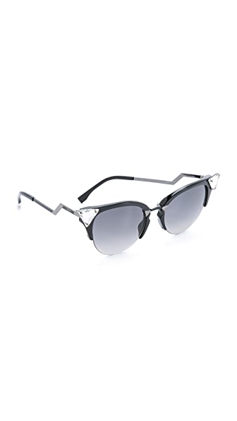 Fendi Iridia Crystal Corner Sunglasses - Black Ruthenium/Grey Grad at Shopbop