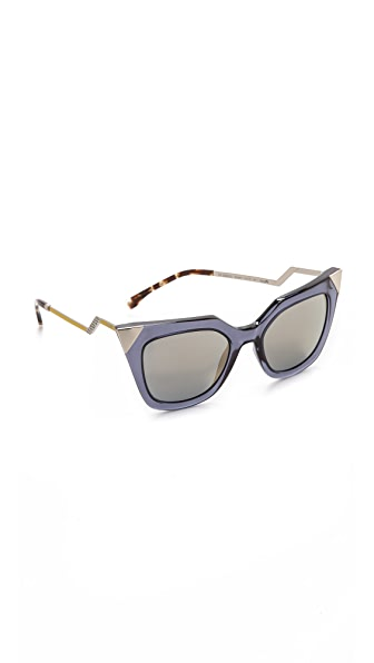 Fendi Iridia Corner Accent Sunglasses - Blue Grey Transparent/Bronze at Shopbop